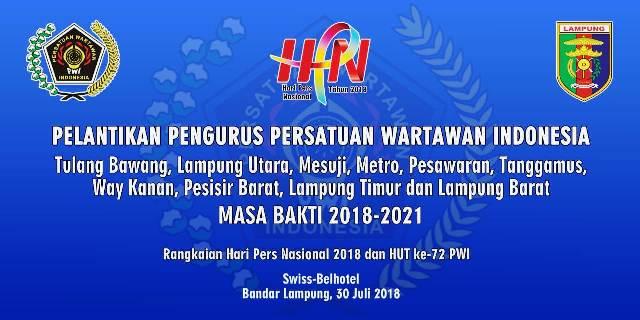 Lantik Pengurus PWI, Margiono Sambangi Lampung