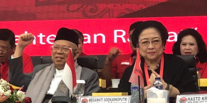 Cawapres KH Ma'ruf Amin dan Megawati Hadiri Rakornas PDI-P