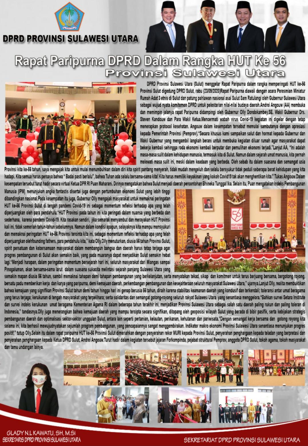 Rapat Paripurna DPRD Terkait HUT ke-56 Provinsi Sulut