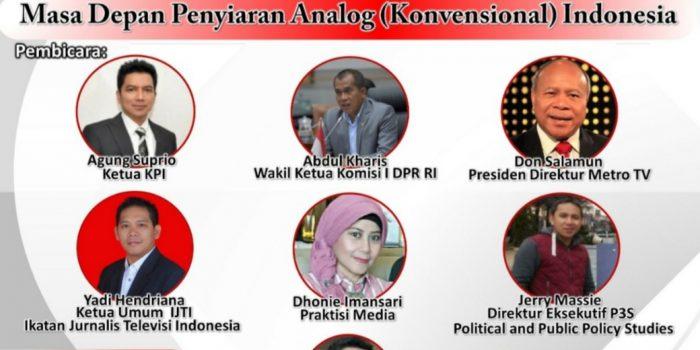 Masa Depan Penyiaran Analog (Konvensional) di Indonesia akan Dibedah dalam Webinar P3S
