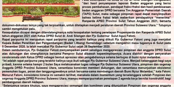 DPRD Sulut Gelar Paripurna Penetapan Propemperda dan RAPBD T.A 2021